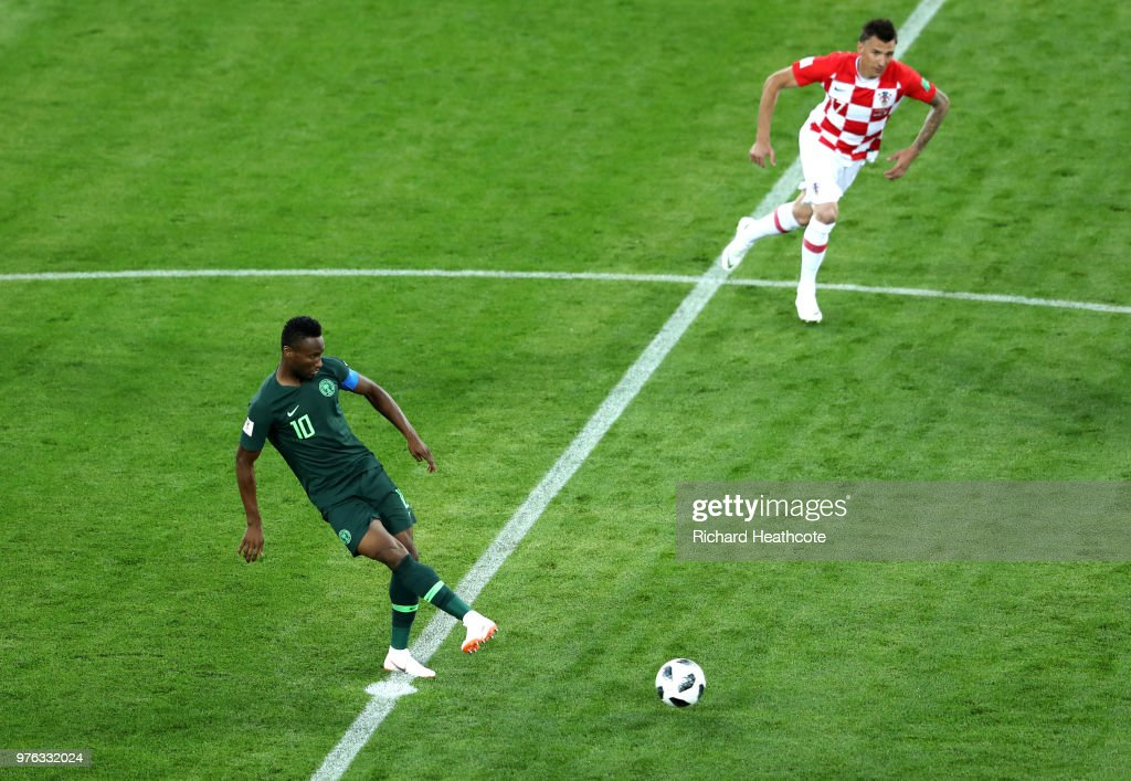 John Obi Mikel of Nigeria kicks off for Nigeria during the 2018 FIFA World Cup Russia group D match between Croatia and Nigeria at Kaliningrad Stadium on June 16, 2018 in Kaliningrad, Russia.