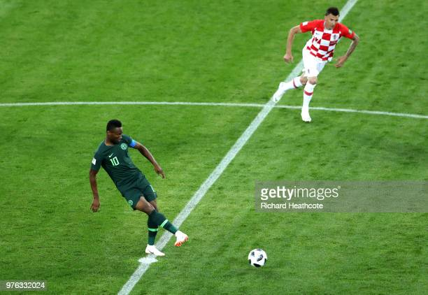John Obi Mikel of Nigeria kicks off for Nigeria during the 2018 FIFA World Cup Russia group D match between Croatia and Nigeria at Kaliningrad...