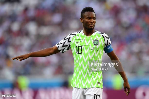 John Obi Mikel of Nigeria looks on during the 2018 FIFA World Cup Russia group D match between Nigeria and Iceland at Volgograd Arena on June 22 2018...
