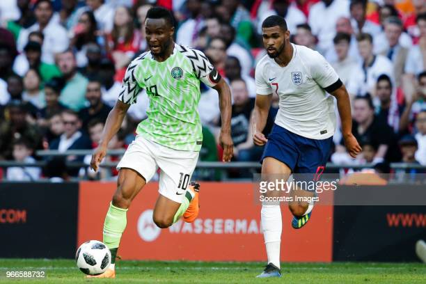 John Obi Mikel of Nigeria Ruben Loftus Cheek of England during the International Friendly match between England v Nigeria at the Wembley Stadium on...