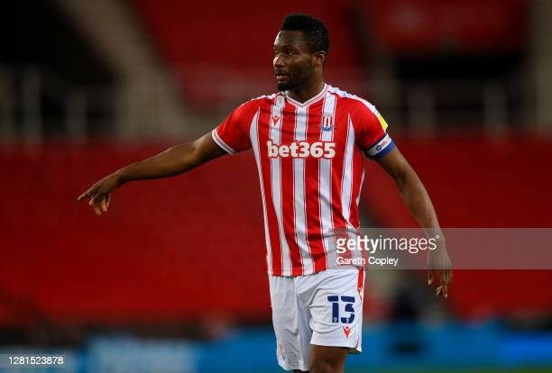 John Obi Mikel of Stoke City during the Sky Bet Championship match between Stoke City and Barnsley at Bet365 Stadium on October 21 2020 in Stoke on...