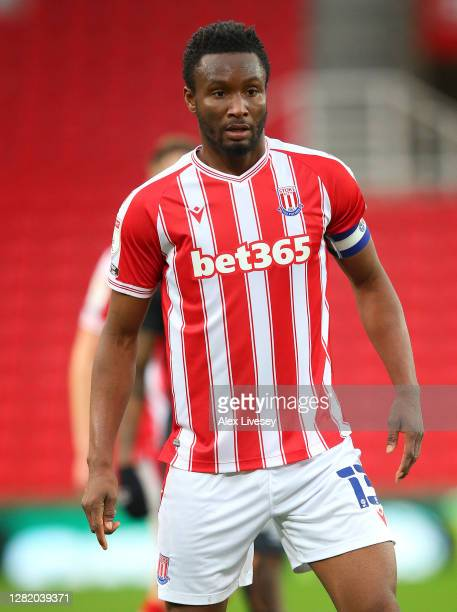 John Obi Mikel of Stoke City looks on during the Sky Bet Championship match between Stoke City and Brentford at Bet365 Stadium on October 24 2020 in...