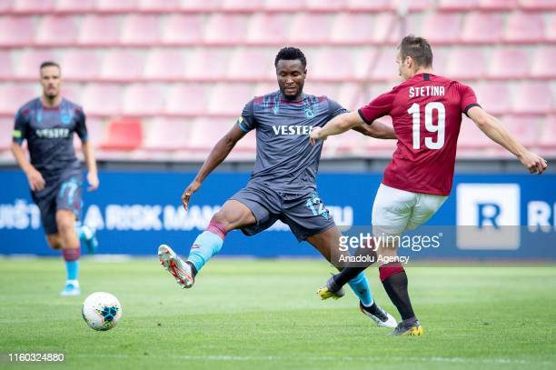 John Obi Mikel of Trabzonspor in action against Lukas Stetina of Sparta Prague during the UEFA Europa League 3rd round soccer match between AC Sparta...