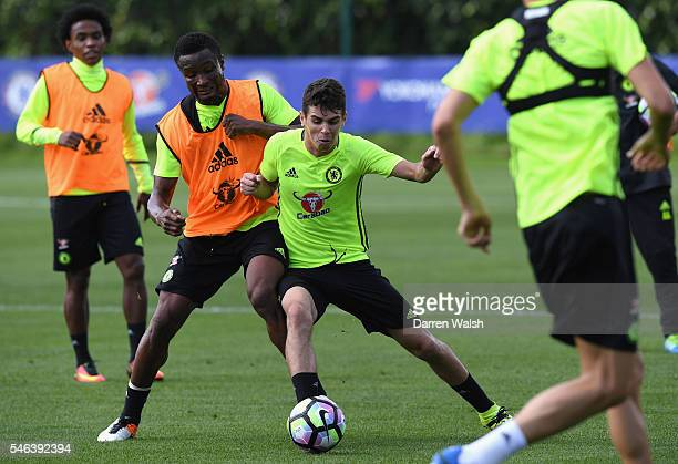 John Obi Mikel Oscar during a Chelsea training session at Chelsea Training Ground on July 12 2016 in Cobham England