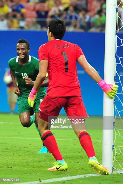 John Obi Mikel player of Nigeria scores his thirty goal during 2016 Summer Olympics match between Japan and Nigeria at Arena Amazonia on August 4...