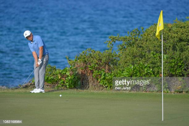 John Oda chips onto the thirteenth hole green during the third round of the Web.com Tour's The Bahamas Great Exuma Classic at Sandals Emerald Bay...