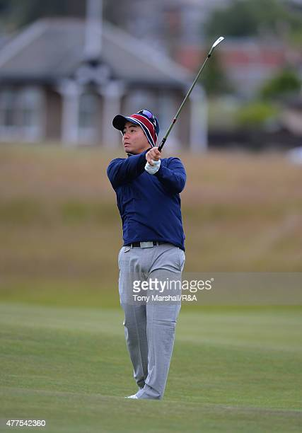 John Oda of USA plays his second shot on the 1st fairway during The Amateur Championship 2015 - Day Four at Carnoustie Golf Club on June 18, 2015 in...