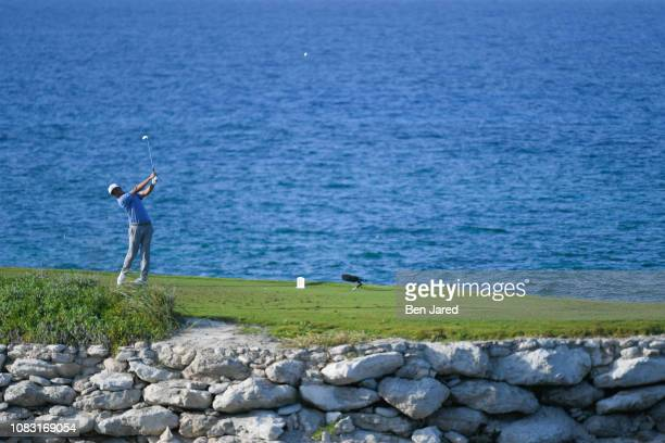 John Oda tees off on the fourteenth hole during the third round of the Web.com Tour's The Bahamas Great Exuma Classic at Sandals Emerald Bay golf...