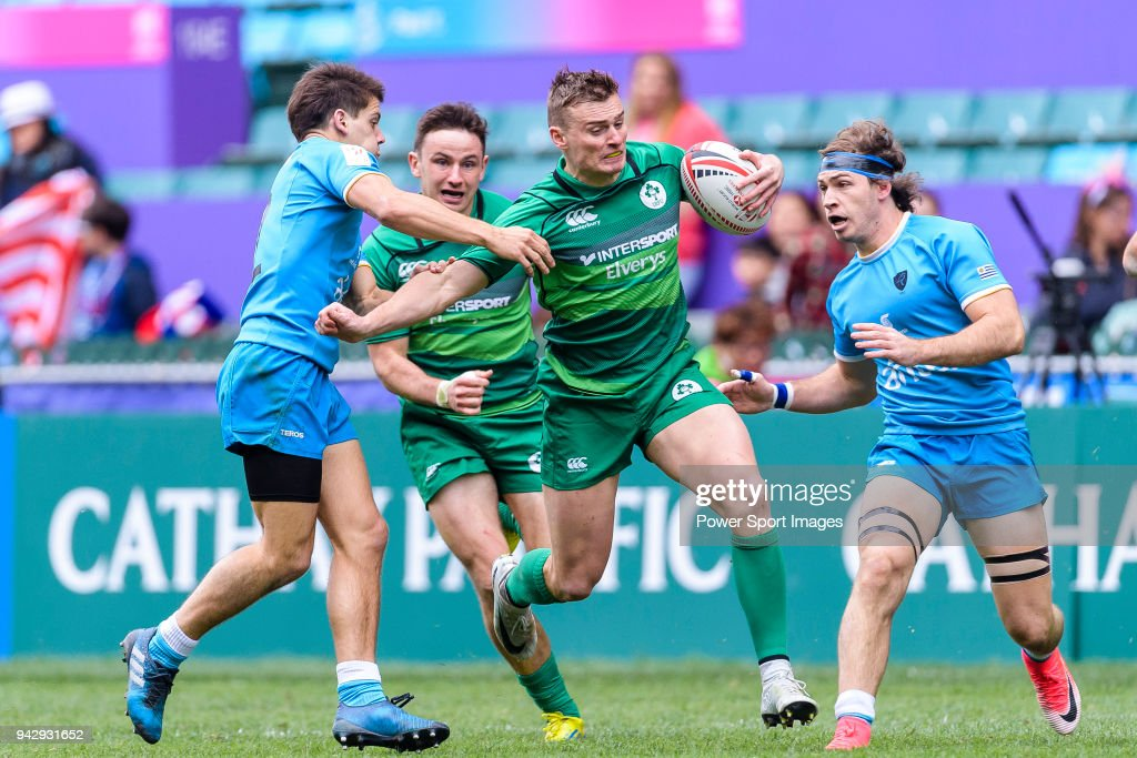 John O'Donnell of Ireland (C) fights with Joaquin Alonso of Uruguay (L) during the match between Ireland and Uruguay on April 7, 2018 in Hong Kong, Hong Kong.