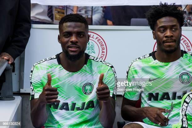 John Ogu of Nigeria Ola Aina of Nigeria during the International Friendly match between England v Nigeria at the Wembley Stadium on June 2 2018 in...