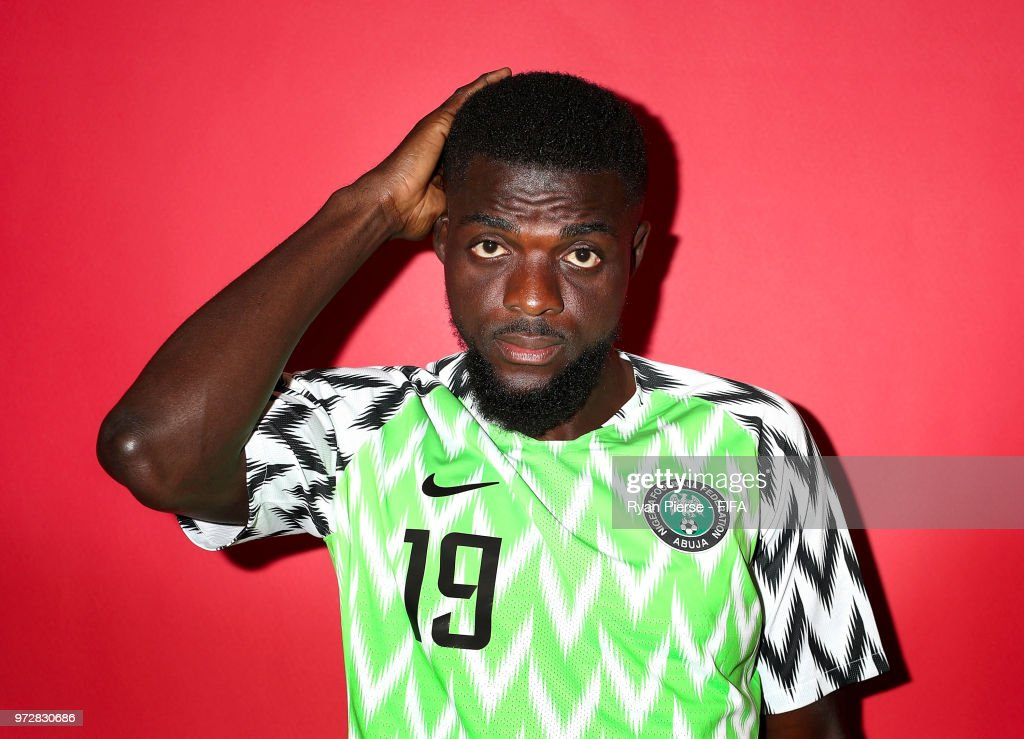 John Ogu of Nigeria poses during the official FIFA World Cup 2018 portrait session on June 12, 2018 in Yessentuki, Russia.
