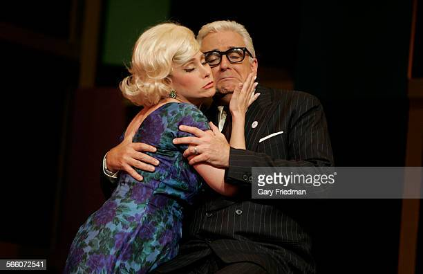 """John O'Hurley as J.B. Biggley and Melissa Fahn as Hedy Larue during a dress rehearsal of """"How to Succeed in Business Without Really Trying"""" at UCLA's..."""