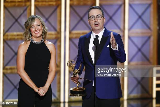 John Oliver accepts the Emmy Award for Outstanding Variety Talk Series at the 69TH PRIMETIME EMMY AWARDS LIVE from the Microsoft Theater in Los...