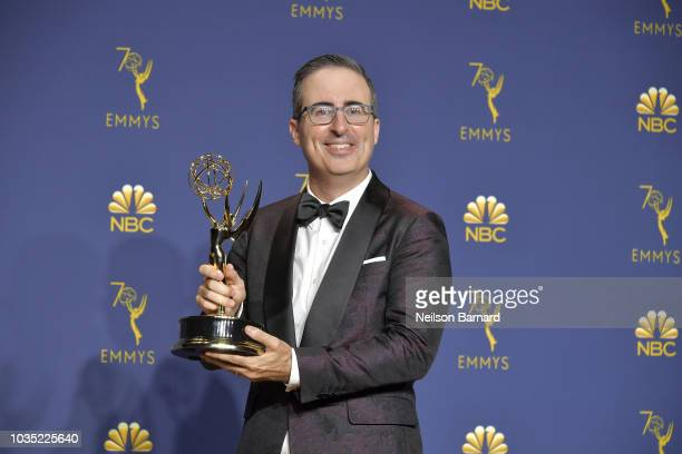 John Oliver accepts the Outstanding Variety Talk Series award for 'Last Week Tonight with John Oliver' onstage during the 70th Emmy Awards on...