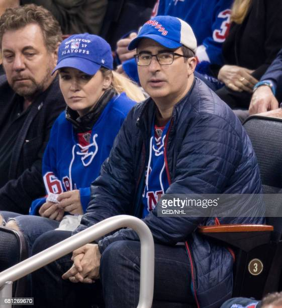 John Oliver and Kate Norley attend Ottawa Senators Vs New York Rangers 2017 Playoff Game on May 9 at Madison Square Garden in New York City