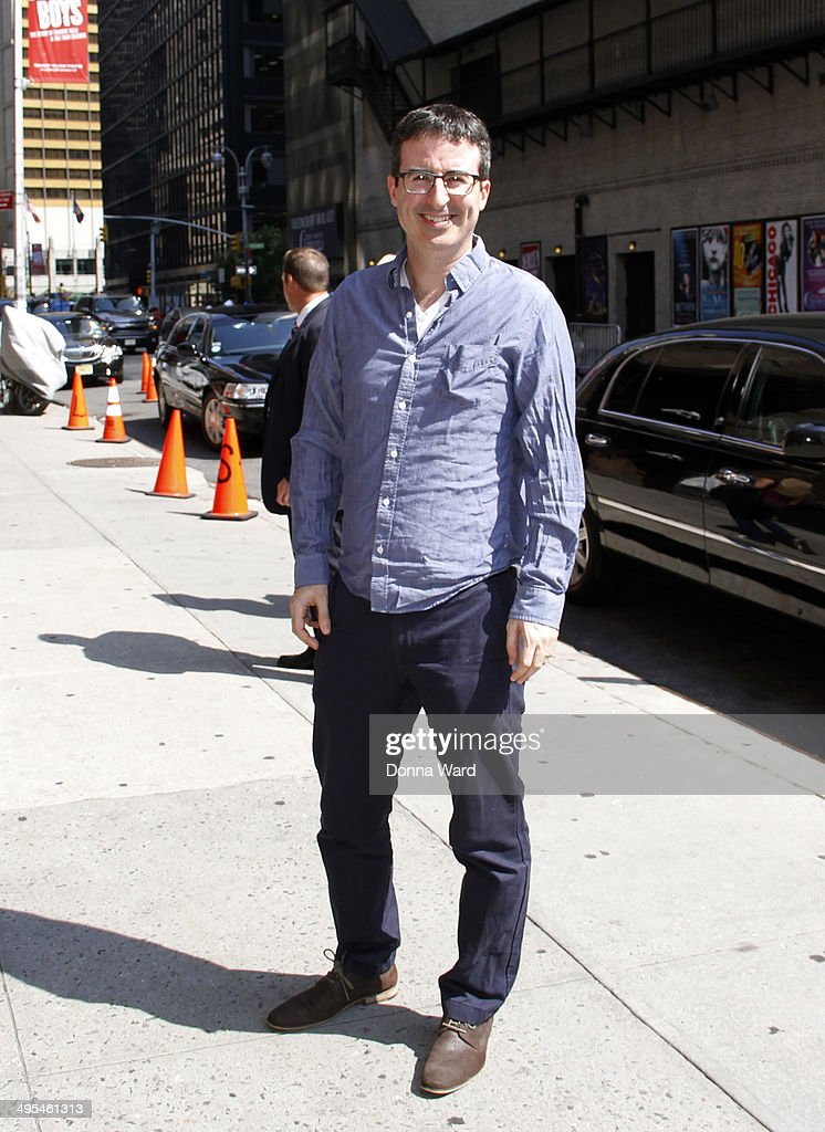 John Oliver arrives for the 'Late Show with David Letterman' at Ed Sullivan Theater on June 3, 2014 in New York City.