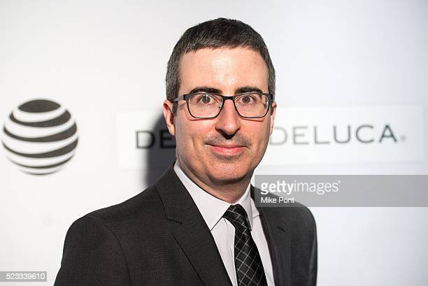 John Oliver attends Tribeca Talks Storytellers Tom Hanks with John Oliver during the 2016 Tribeca Film Festival at John Zuccotti Theater at BMCC...