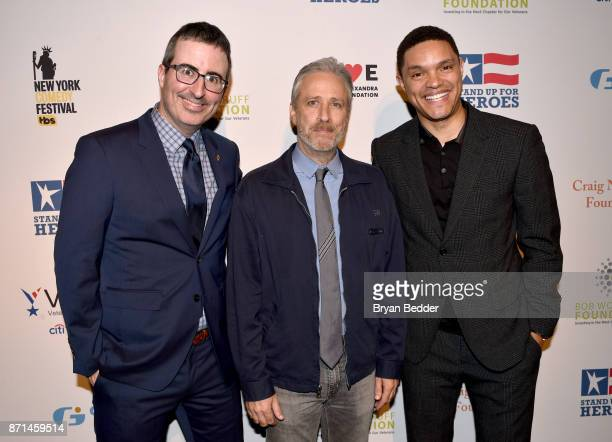 John Oliver Jon Stewart and Trevor Noah attend the 11th Annual Stand Up for Heroes Event presented by The New York Comedy Festival and The Bob...