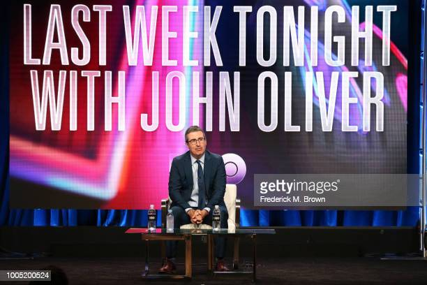 John Oliver of 'Last Week Tonight with John Oliver' speaks onstage during the HBO portion of the Summer 2018 TCA Press Tour at The Beverly Hilton...