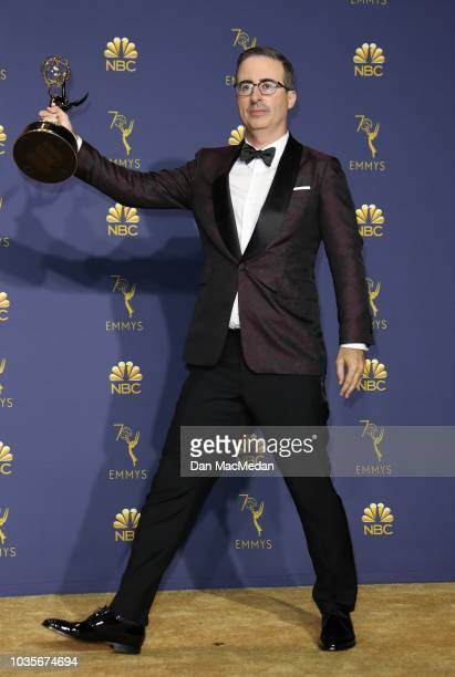 John Oliver poses with the Outstanding Variety Talk Series award for 'Last Week Tonight with John Oliver' in the press room on September 17, 2018 in...