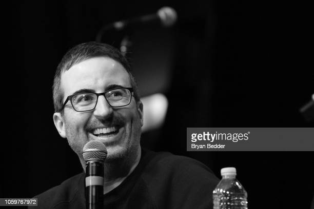 John Oliver speaks onstage during Running Late with Scott Rogowsky at Team Coco House during New York Comedy Festival on November 9 2018 in New York...