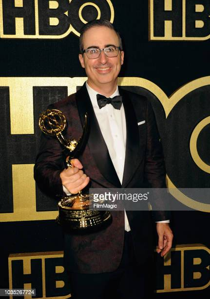 """John Oliver, winner of the award for Outstanding Writing for a Variety Series for """"Last Week Tonight with John Oliver,"""" arrives at HBO's Official..."""