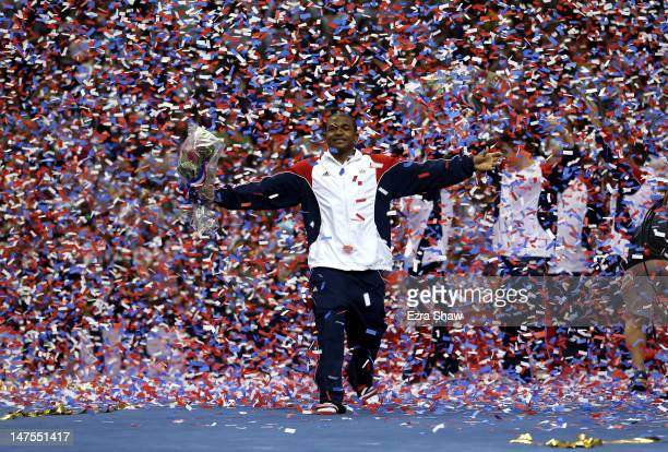 John Orozco celebrates in the confetti after being named to the US Gymnastic team going to the 2012 London Olympics at HP Pavilion on July 1 2012 in...
