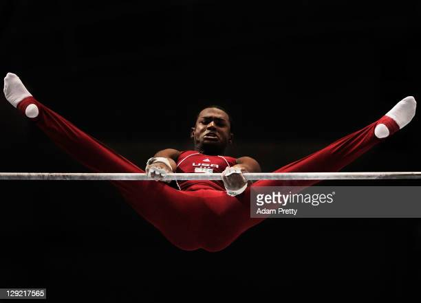 John Orozco of the USA competes on the Horizontal Bar aparatus in the Men's All Around Final during day eight of the Artistic Gymnastics World...