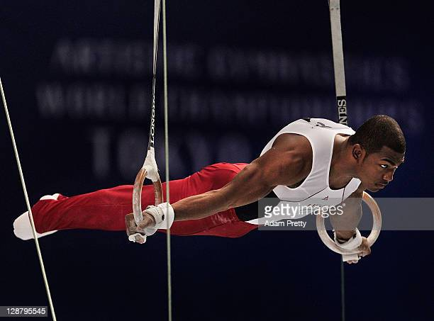 John Orozco of the USA competes on the Rings aparatus in the Men's qualification during day three of the Artistic Gymnastics World Championships...
