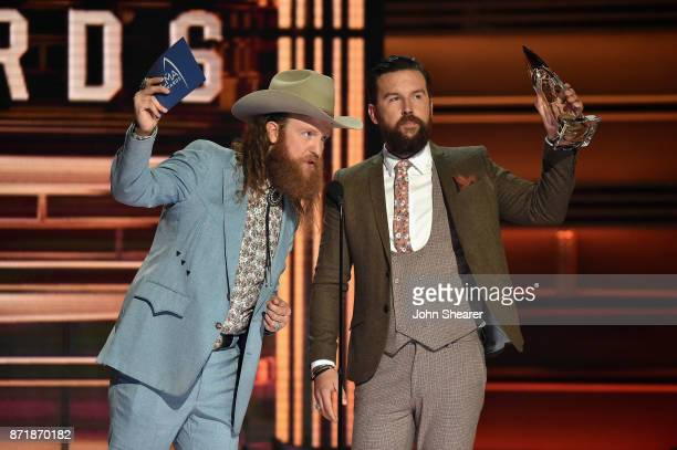 John Osborne and TJ Osborne of Brothers Osborne accept an award onstage at the 51st annual CMA Awards at the Bridgestone Arena on November 8 2017 in...