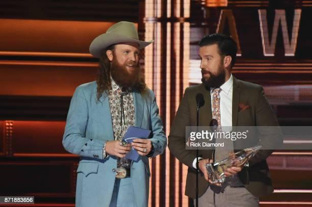 John Osborne and TJ Osborne of Brothers Osborne accept an award onstage at the 51st annual CMA Awards at the Bridgestone Arena on November 8 2017 in...