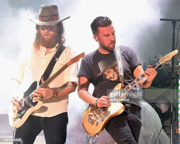 John Osborne and TJ Osborne of Brothers Osborne perform during Country Thunder Day 2 on July 20 2018 in Twin Lakes Wisconsin