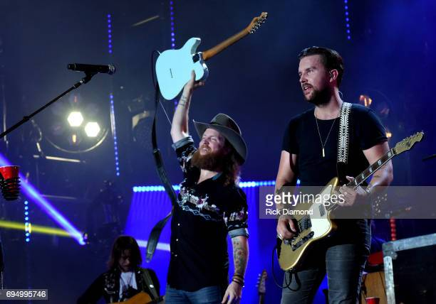 John Osborne and TJ Osborne of Brothers Osborne perform onstage during day 4 of the 2017 CMA Music Festival on June 11 2017 in Nashville Tennessee
