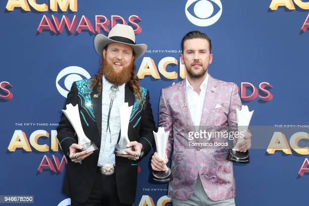 John Osborne and TJ Osborne of musical group Brothers Osborne attend the 53rd Academy of Country Music Awards at MGM Grand Garden Arena on April 15...