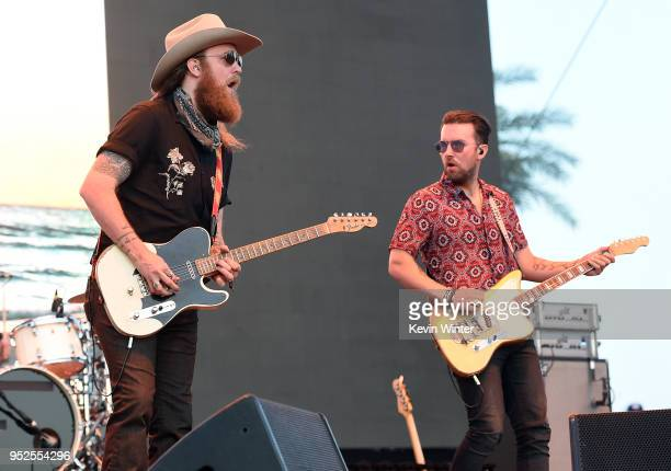 John Osborne and TJ Osborne of the band Brothers Osborne performs onstage during 2018 Stagecoach California's Country Music Festival at the Empire...