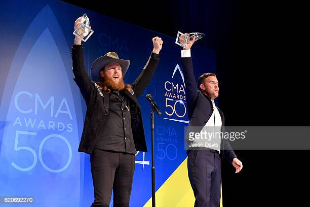 John Osborne and TJ Osborne of the Brothers Osborne pose with the award for Vocal Duo of the Year at the 50th annual CMA Awards at the Bridgestone...