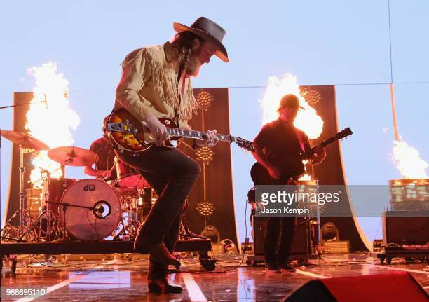 John Osborne of Brothers Osborne performs onstage at 2018 CMT Music Awards at Bridgestone Arena on June 6 2018 in Nashville Tennessee