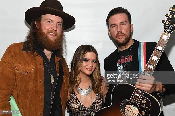 John Osborne of the Brothers Osborne Maren Morris and TJ Osborne of the Brothers Osborne backstage at the AIMP Nashville Awards on April 18 2016 in...