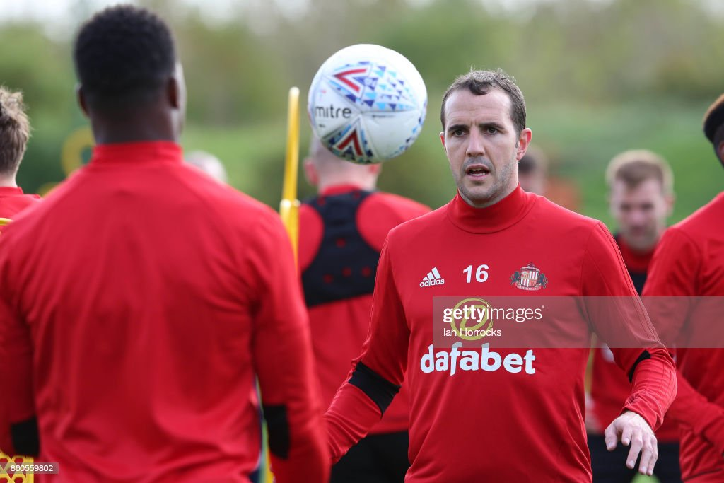 John O'Shea during a Sunderland AFC training session at The Academy of Light on October 12, 2017 in Sunderland, England.