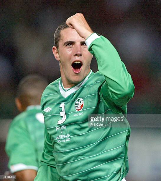 John O'Shea of Ireland celebrates scoring a goal against Australia during the International Friendly match between Ireland and Australia August 19...