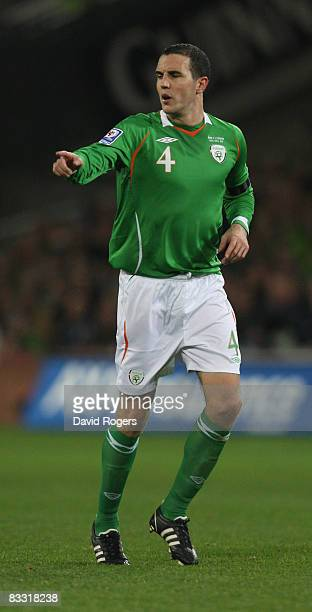 John O'Shea of Ireland pictured during the World Cup qualifying match between the Republic of Ireland and Cyprus at Croke Park on October 15 2008 in...