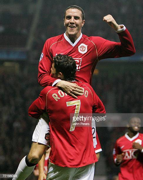 John O'Shea of Manchester United celebrates scoring the second goal during the UEFA Champions League match between Manchester United and FC...