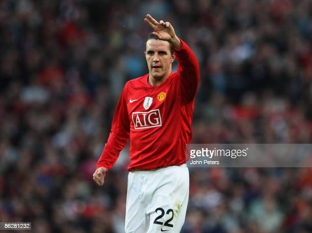 John O'Shea of Manchester United celebrates scoring their first goal during the UEFA Champions League SemiFinal first leg match between Manchester...