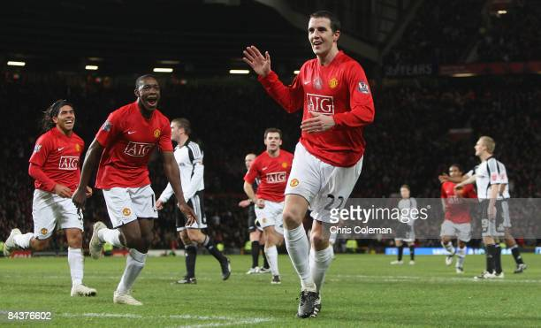 John O'Shea of Manchester United celebrates scoring their second goal during the Carling Cup SemiFinal 2nd Leg match between Manchester United and...