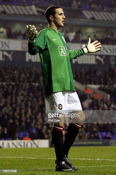 John O'Shea of Manchester United fills in for injued goalkeeper Edwin Van Der Sar during the Barclays Premiership match between Tottenham Hotspur and...