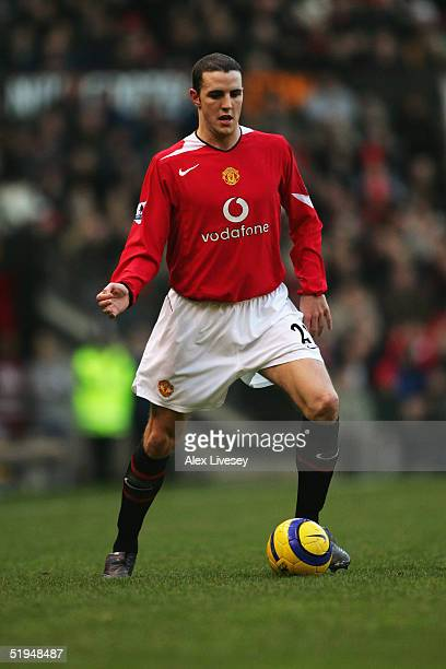 John O'Shea of Manchester United in action during the Barclays Premiership match between Manchester United and Bolton Wanderers at Old Trafford on...