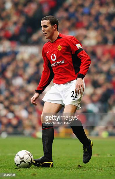 John O'Shea of Manchester United in action during the FA Premiership match between Manchester United and Blackburn Rovers on November 22 2003 at Old...