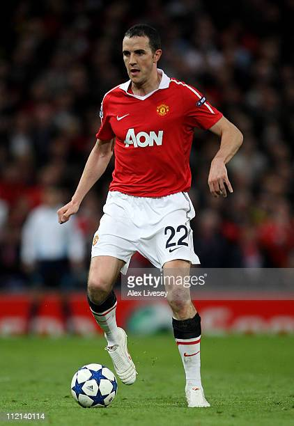 John O'Shea of Manchester United in action during the UEFA Champions League Quarter Final second leg match between Manchester United and Chelsea at...