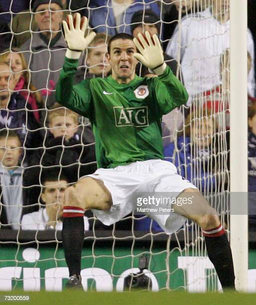 John O'Shea of Manchester United in action in goal in place of the injured Edwin van der Sar during the Barclays Premiership match between Tottenham...