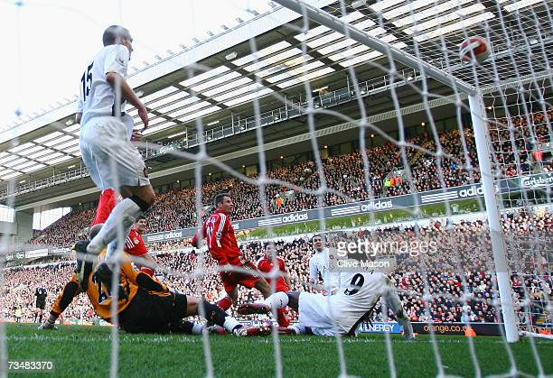 John O'Shea of Manchester United scores the winning goal during the Barclays Premiership match between Liverpool and Manchester United at Anfield on...